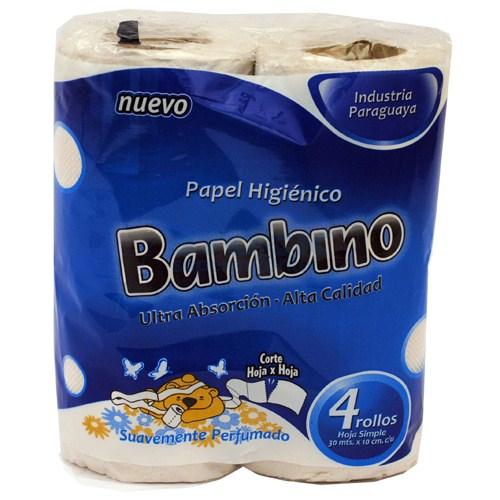 PAPEL HIGIENICO BAMBINO PLUS PERFUMADO PAQUETE 4UN
