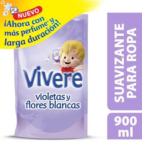 Foto SUAVIZANTE P/ROPA VIOLETA Y FLORES BLANCAS 900ML VIVERE DOYPACK  de