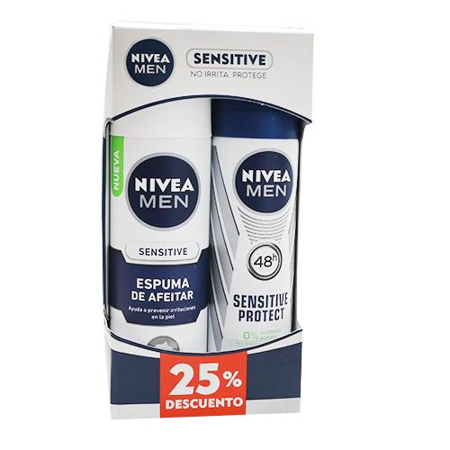 Foto DESODORANTE SENSITIVE SPRAY FOR MEN 150ML/ESPUMA DE AFEITAR SENSITIVE 200ML NIVEA PACK 25PORC DESC. de