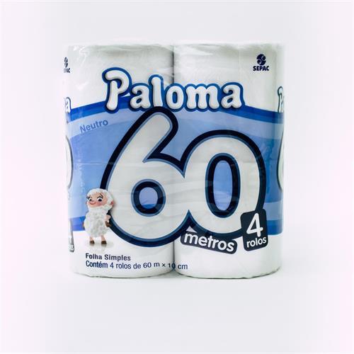 Foto PAPEL HIGIENICO PALOMA SUPER NEUTRO 60MT X4UN de