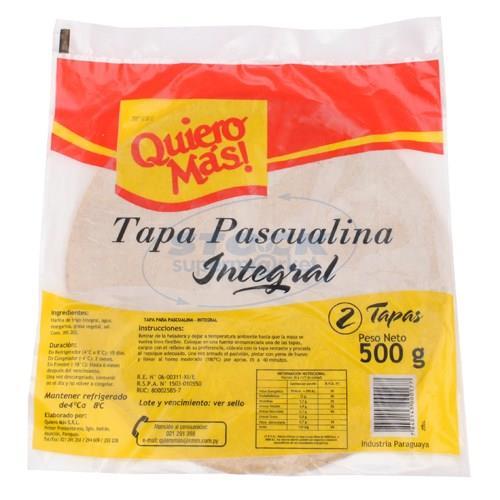 Foto TAPA PARA PASCUALINA QUIERO MAS INTEGRAL 500 GR. de