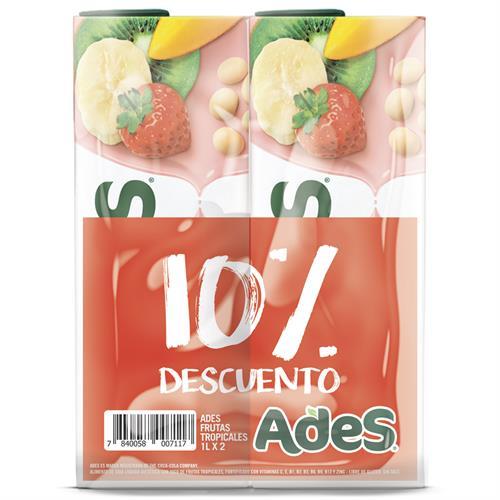Foto JUGO LIQ FRUTAS TROPICALES 2UN X 1LT ADES 10PORC DESC PACK de
