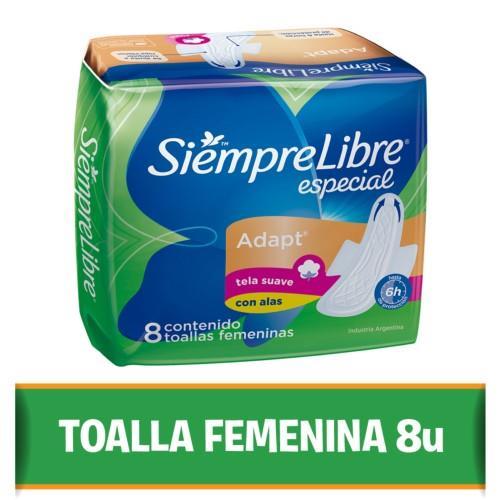 Foto TOALLITA FEMENINA CON ALAS ESPECIAL SIEMPRE LIBRE 8UNID de